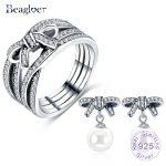 Beagloer 100% 925 Sterling <b>Silver</b> Graceful Bow Knot & White Pearl Drop <b>Earrings</b> Ring For Women Luxury Jewelry Set PSST0038-B