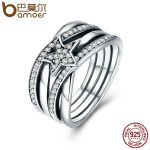 BAMOER Spring Collection 925 Sterling Silver Star Twisted Statement Ring For Women Engagement S925 Silver <b>Jewelry</b> SCR050
