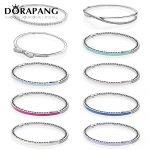 DORAPANG 100% 925 Sterling <b>Silver</b> Drop gum <b>bracelet</b> Clear CZ Charm Bead fit pendant DIY crystal <b>Bracelets</b> The factory wholesale
