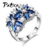 PATICO Pure 925 Sterling Silver Sparkling Rings for Women Girls Brilliant CZ Crystal Wedding Engagement <b>Jewelry</b> Summer Sale