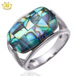 Hutang Colorful Abalone Shell Solid 925 Sterling <b>Silver</b> Rings for women Fine <b>Jewelry</b> Wholesale
