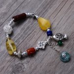 925 Sterling <b>Silver</b> Vintage Nature Yellow Beeswax & Red Souther & Green Jade <b>Bracelet</b> Women Thai <b>Silver</b> Gift Jewelry CH058798