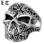 LT Gothic 925 Sterling Silver Skull Ring Men High Polished <b>Handmade</b> Rings For Male Adjustable Punk <b>Jewelry</b> For Male
