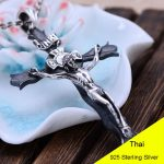 925 <b>Sterling</b> <b>Silver</b> Retro Jesus Cross Necklace Pendant Men Thai <b>Silver</b> Fine <b>Jewelry</b> Gift CH045758