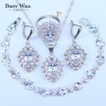 AAA+ Quality Zircons <b>Silver</b> Color Bridal CZ Crystal Necklace and Earring Rings <b>Bracelets</b> Set Wedding 925 Stamp Jewelry Sets