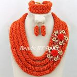 <b>Handmade</b> Fashion Wedding Women Costume <b>Jewelry</b> Set Orange Crystal Beads Necklace African <b>Jewelry</b> Set Free Shipping ABY368