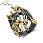 Mytys Geometric Branch Design Half Finger Ring Black Gun Yellow Gold Double Color Punk Ring Hyperbole Big Rings <b>Jewelry</b> R2008