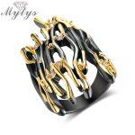 Mytys Geometric Branch Design Half Finger Ring Black Gun Yellow Gold Double Color Punk Ring Hyperbole Big Rings <b>Jewelry</b> R2008