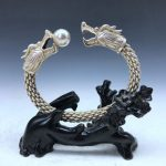 Selling <b>Jewelry</b>>>>Chinese ancient miao silver bracelet handmade double dragon play bead image