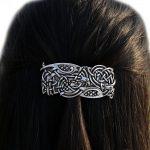 <b>Antique</b> Silver Irish Celtics Knots Vikings Large French Barrette Hair Clip Vintage Hair <b>Jewelry</b> Accessories for Women