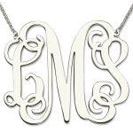 Wholesale Sterling <b>Silver</b> Large Size Monogram <b>Necklace</b> XXL 2 Inch Pendant Monogram Personalized Initial Mother Jewelry