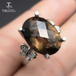 TBJ, 100% natural smoky quartz checkerboard oval 11ct gemstone ring in 925 sterling <b>silver</b> fine <b>jewelry</b> for women with gift box