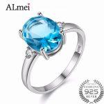 Almei 1.5ct Blue Topaz Engagement Ring Genuine 925 Sterling <b>Silver</b> New Women Wholesale Wedding <b>Jewelry</b> Gift Free Box 40% FJ106