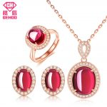 GEHOO New Pretty Red Ruby Bridal Wedding Jewelry Set Women CZ Paved Gemstone 925 Sterling <b>Silver</b> <b>Earrings</b> Pendant Necklace Ring