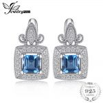 JewelryPalace Vintage Carved 1ct Square Natural London Blue Topaz Clip <b>Earrings</b> 925 Sterling <b>Silver</b> Brand Fine Jewelry For Women