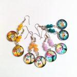 12pair/lot Colorful Convex Circular Life Tree Drop Earrings Stone Beads Earrings <b>Handmade</b> Orange Earrings Friendly <b>Jewelry</b>