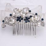 Bella Fashion Blue Classic Bridal Flower Leaf Hair Comb Austrian Crystal <b>Wedding</b> Bridesmaid Accessories Comb Party <b>Jewelry</b> Gift