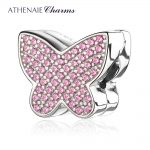 ATHENAIE European 925 <b>Silver</b> Clips Pave Clear CZ Sparkling butterfly Charm Beads Color Pink Fit European Charm <b>Bracelet</b> Necklace