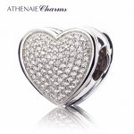 ATHENAIE Genuine 925 <b>Silver</b> with Pave Clear CZ Heart-shaped to My Lover Charm Fit All European Bracelets <b>Necklace</b> Color White