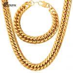 American Style Men Heavy Cool <b>Jewelry</b> Set 316L Stainless Steel Gold color Punk Fashion <b>Necklace</b> Bracelet Sets Hip Hop S532