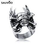 Sauvoo Punk Biker Rings <b>Antique</b> Silver Color Stainless Steel Metal Carved Skull Skeleton Wings Ring Men Male <b>Jewelry</b> Accessories