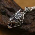 Handmade 925 <b>silver</b> dragon pendant vintage thai <b>silver</b> dragon head man pendant punk <b>jewelry</b> necklace pendant