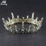 Snuoy Men/Women Vintage Hair <b>Jewelry</b> Medieval Full Round Queen/King Crowns Black Baroque Court Tiara Opal European <b>Wedding</b> Crown