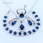 L&B <b>Silver</b> Color For Women Blue zircon White crystal Jewelry Sets dark blue stone Earrings/Pendant/<b>Bracelet</b>/Ring