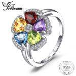 JewelryPalace Fower 2.6ct Natural Blue Topaz Amethyst Citrine Garnet Peridot Ring 925 Sterling <b>Silver</b> Gemstone Fine <b>Jewelry</b>