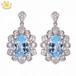Hutang Solid 925 Sterling <b>Silver</b> 6.89ct Natural Gemstone Sky Blue Topaz Romantic <b>Earrings</b> Fine Stone Jewelry For Women's Gift