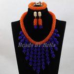 <b>Handmade</b> Orange and Royal Blue Wedding Bib Statement Necklace Set Women <b>Jewelry</b> Set for Party Anniversary Free Shipping ABL154