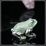 Frog Shape Metal Crystal Rhinestone <b>Jewelry</b> Box Gorgeous Frog Jewelled Trinket Box with Inlaid Crystal, Pill Box Figurine