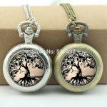 WholesaleTree of Life Pocket Watch Tree <b>Jewelry</b> Glass Cabochon Locket Necklace <b>Antique</b> Pocket Watch Necklace
