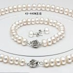 Genuine freshwater pearl necklace <b>bracelet</b> 925 <b>silver</b> earrings 3 sets bridal jewelry set free shipping gifts for women