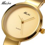 MISSFOX Miss Fox Casual Women Watches <b>Silver</b> Waterproof Wrist Watches For Women Gold Quartz Ladies Watch Stainless Steel Clock