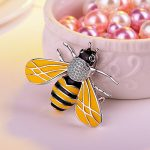 <b>Handmade</b> bee Brooch insect <b>Jewelry</b> silver with with black and yellow Enamel Pet Lovers Gift Idea free ship