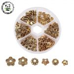 1Box Mixed Style Tibetan Style Alloy Flower Bead Caps, <b>Antique</b> Golden, 7~10×4~10mm, Hole: 1~2mm; about 30pcs/compartment