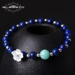 GLSEEVO 925 <b>Silver</b> Handmade National Wind <b>Bracelet</b> Temperament Natural Shell Flower Lapis Lazuli Stone <b>Bracelet</b> Bileklik GB0035