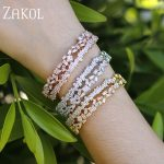 ZAKOL Luxury Brand Design <b>Fashion</b> AAA Cubic Zircon Multi-layered Baguette Bracelet Cuff Bangle for Women Gift <b>Jewelry</b> FSBP152