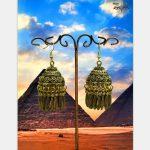 India Egyptian Women's Golden Feather Birdcage Earrings Traditional <b>Handmade</b> <b>Jewelry</b> Ethnic Tribes Mumbai Jaipur Arabia Jewel