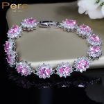Pera Elegant Sterling Silver Light Pink Cluster Flower Shape Big Cubic Zirconia Stone <b>Jewelry</b> Bracelet & Bangle For Women B013