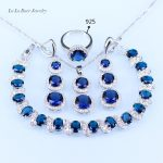 L&B For women Blue created Garnet White Zircon <b>silver</b> Color Jewelry Set <b>Bracelet</b>/Earrings/Pendant/Necklace/Ring