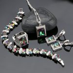Mystic Rainbow Fire Cubic Zirconia 925 Sterling Silver <b>Jewelry</b> Sets For Women Party Earrings/Pendant/Necklace/Ring/Bracelet