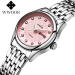 Luxury Brand WWOOR Women Watches Fashion Ladies <b>Silver</b> <b>Bracelet</b> Dress Quartz Watch Lady Waterproof Sport Watch Relogio Feminino