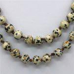 8mm Natural Spot Onyx Round Beads Necklace Chain Women Girls Christmas Gifts Fashion <b>Jewelry</b> <b>Making</b> Design Natural Stone 35inch