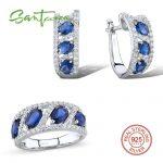 <b>Silver</b> <b>Jewelry</b> Sets For Women Blue Cystal White Cubic Zircon Stone Ring Earrings Set Pure 925 <b>Sterling</b> <b>Silver</b> FashionJewelry Set