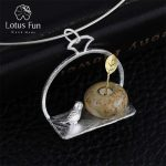 Lotus Fun Real 925 Sterling <b>Silver</b> Handmade Fine Jewelry Bird and Flower Design Pendant without <b>Necklace</b> Acessorios for Women