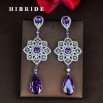 HIBRIDE Luxury Style Fashion Purple Cubic Zircon Earring For Women Brincos <b>Jewelry</b> <b>Wedding</b> Pendientes Mujer Moda E-830