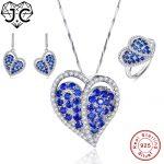 J.C Lady Sapphire Blue White Topaz Pendant & Ring & <b>Earring</b> Genuine Solid 925 Standard Sterling <b>Silver</b> Jewelry Set Heart Wedding