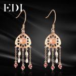 EDI Trendy Natural Rose Quartz Crystal Garnet 100% 925 <b>Sterling</b> <b>Silver</b> Tassels Drop Earrings For Women Fine <b>Jewelry</b>